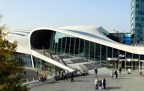 Modern train station curved Arnhem