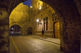 Medival street by night Maastricht